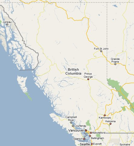 map of british columbia. Map of British Columbia