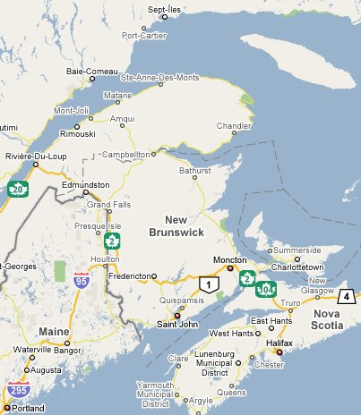 New Brunswick Travel Guide Canada Part Of TravelNotesorg - Map of new brunswick