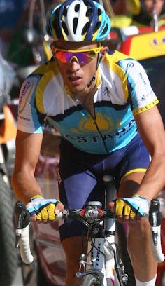 Alberto Contador of Astana leading the way on the final climb to Verbier - Tour de France 2009